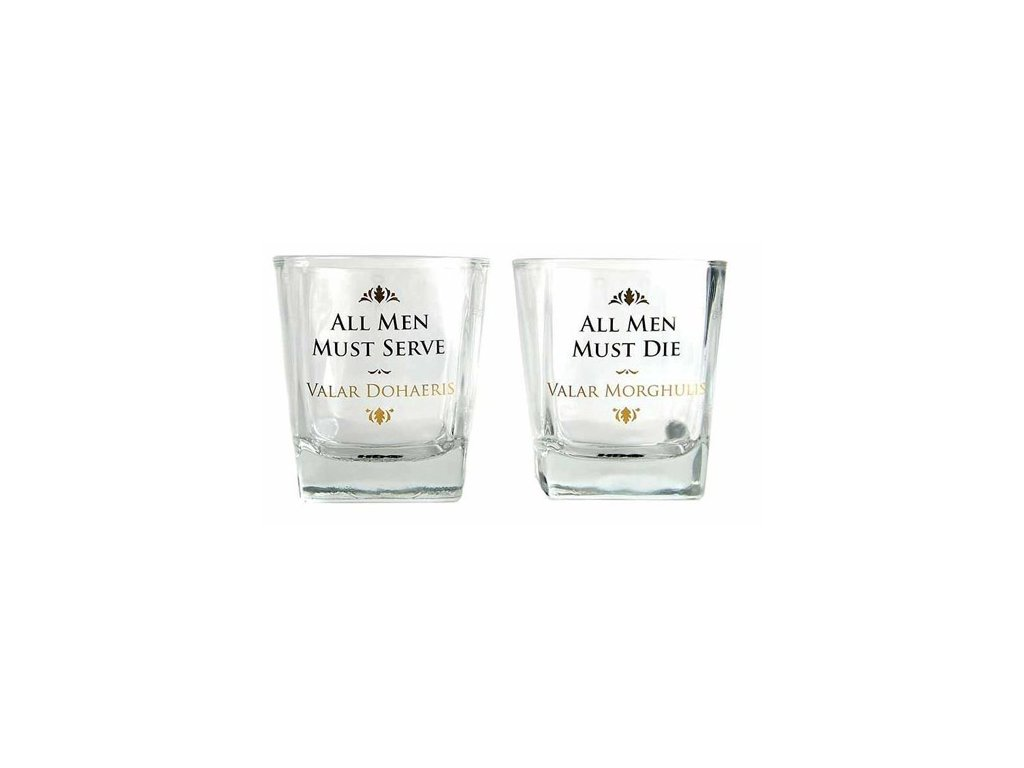 Sklenice na whisky Game of Thrones|Hra o Trůny: All Men Must Die set 2 kusů (objem 250 ml)