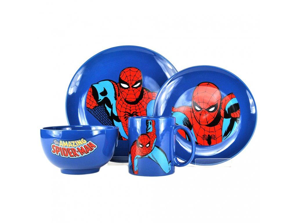 Keramická jídelní souprava Marvel Comics: Spiderman (hrnek 320 ml, miska 14 x 8 cm, talíře průměr 20 a 26 cm)