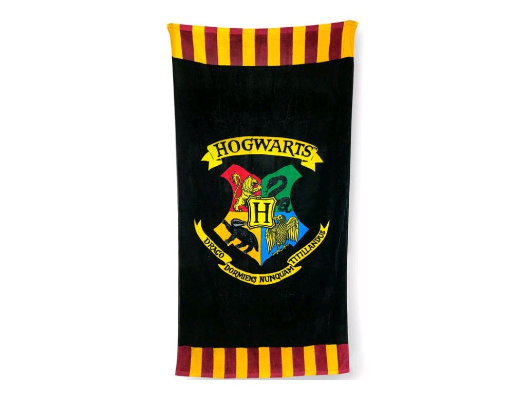 Osuška - ručník Harry Potter: Hogwarts - Bradavice (75 x 150 cm) černý