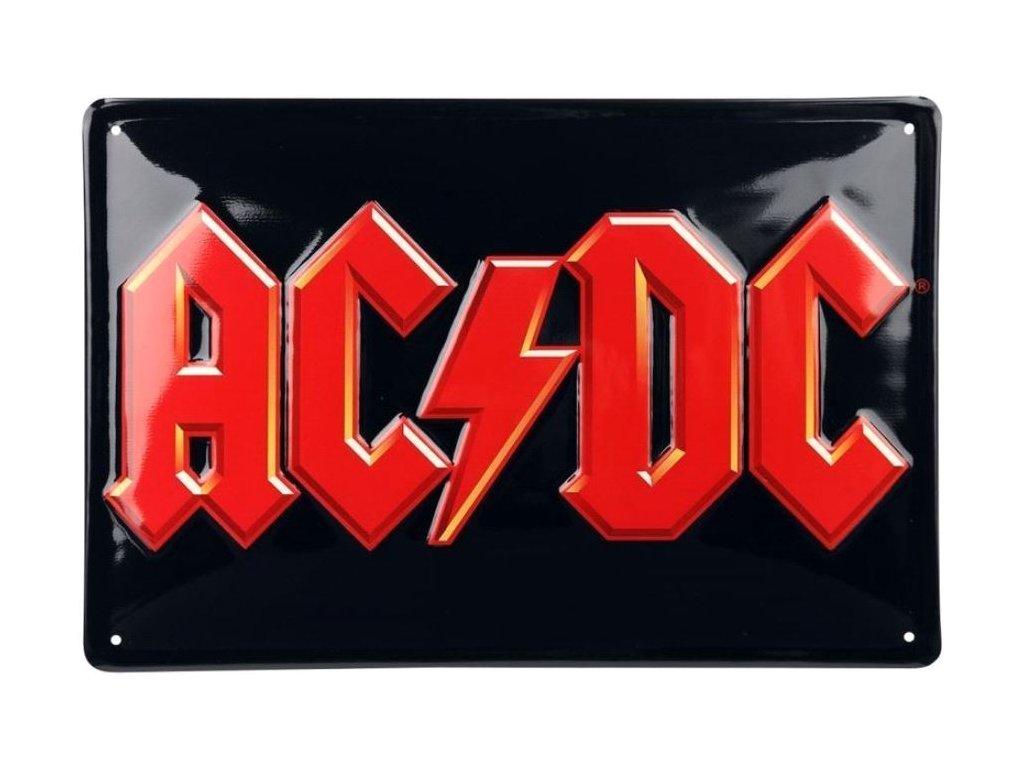 Plechová tvarovaná 3D dekorativní cedule na zeď Ac/Dc: Red Logo Rock (30 x 20 cm)