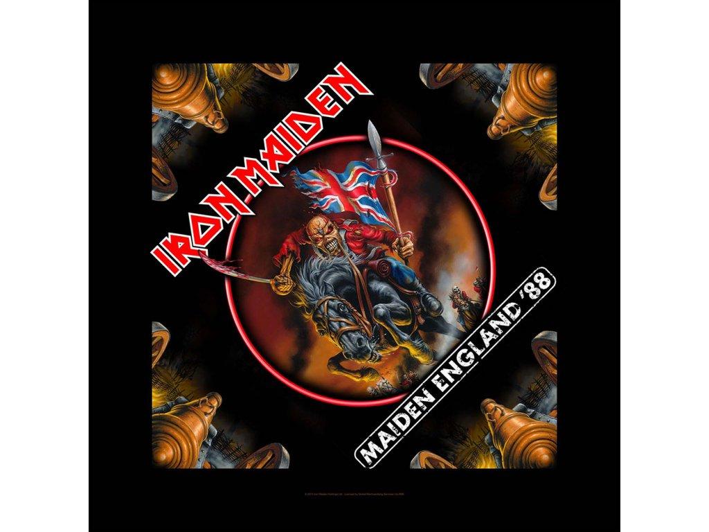 Multifunkční šátek Iron Maiden: Maiden England (55 x 55 cm) černý bavlna