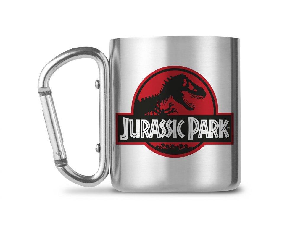 Kovový hrnek s karabinou Jurassic Park Jurský Park: Logo (objem 240 ml)