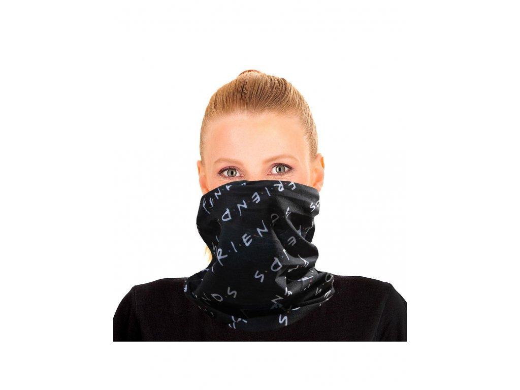 Multifunkční šátek Friends|Přátelé: Logo (54 x 54 cm) černý polyester