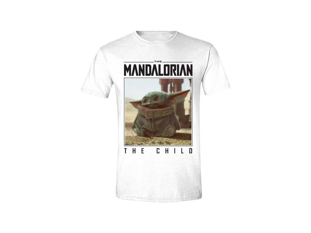 Pánské tričko Star Wars|Hvězdné Války TV Seriál The Mandalorian: The Child Photo (M) bílé bavlna
