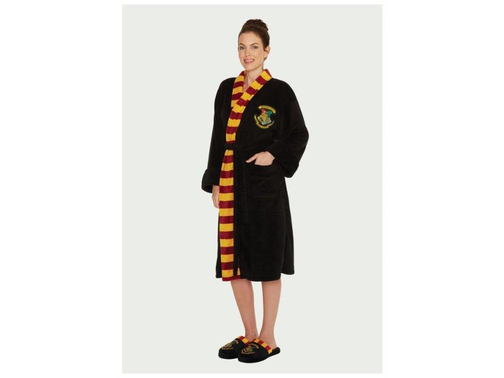 Dámský župan Harry Potter: Čarodějka z Bradavic - Hogwarts (univerzální) černý