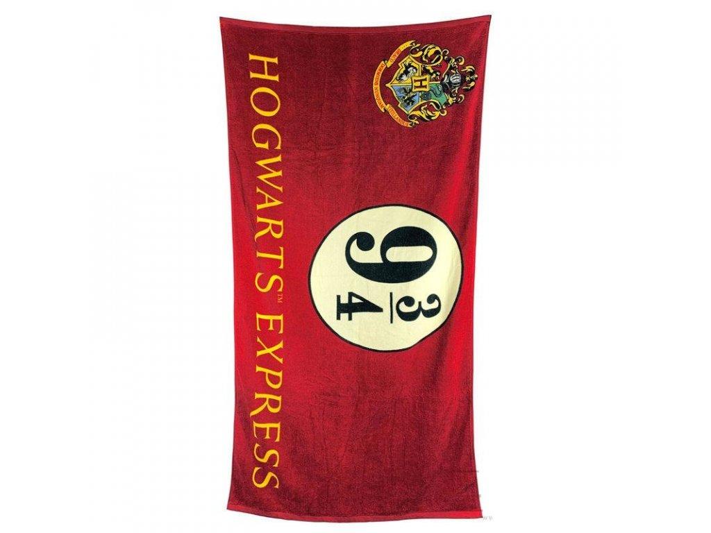 Osuška - ručník Harry Potter: Hogwarts Express 9 3/4 (75 x 150 cm) červený