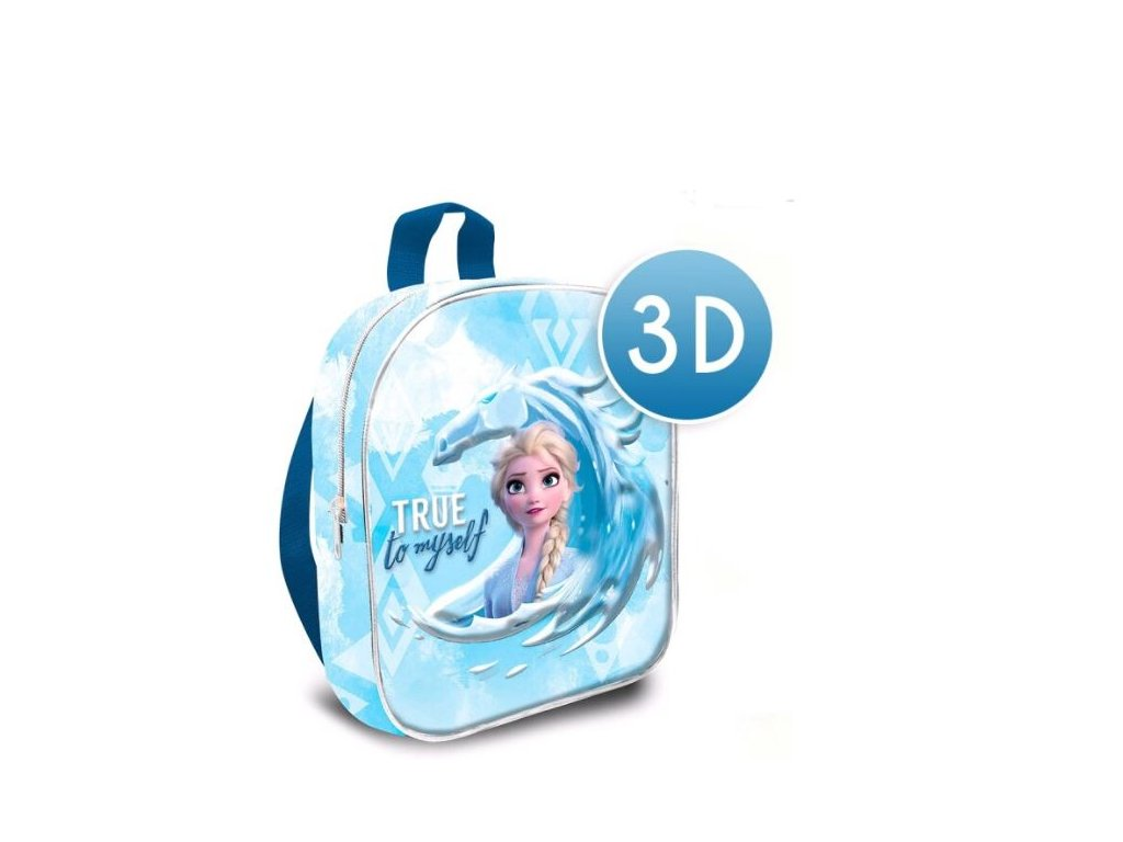 3D dětský batoh Frozen II|Ledové království 2: Elsa - True To Myself (objem 7,2 litrů|24 x 30 x 10 cm) modrá polyester