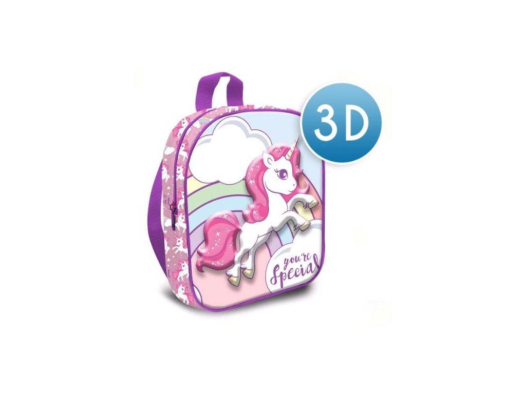 3D dětský batoh Unicorn|Jednorožec: You're Special (objem 7,2 litrů|24 x 30 x 10 cm) růžový polyester