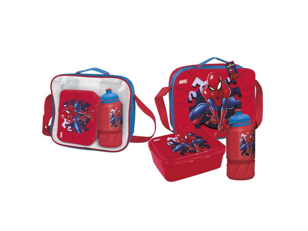 Box svačinový Marvel: Spiderman (taška,láhev na pití,krabička 23 x 16 x 8 cm) polyester PVC