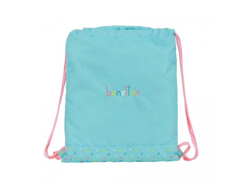 Batoh pytlík se šňůrkami gym bag Benetton: Candy vzor 12075 (35 x 40 cm) modrý polyester