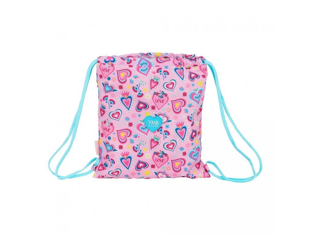 pytlík se šňůrkami, gym bag Vicky Martin Berrocal: růžový vzor 12036 (35 x 40 cm) růžový polyester