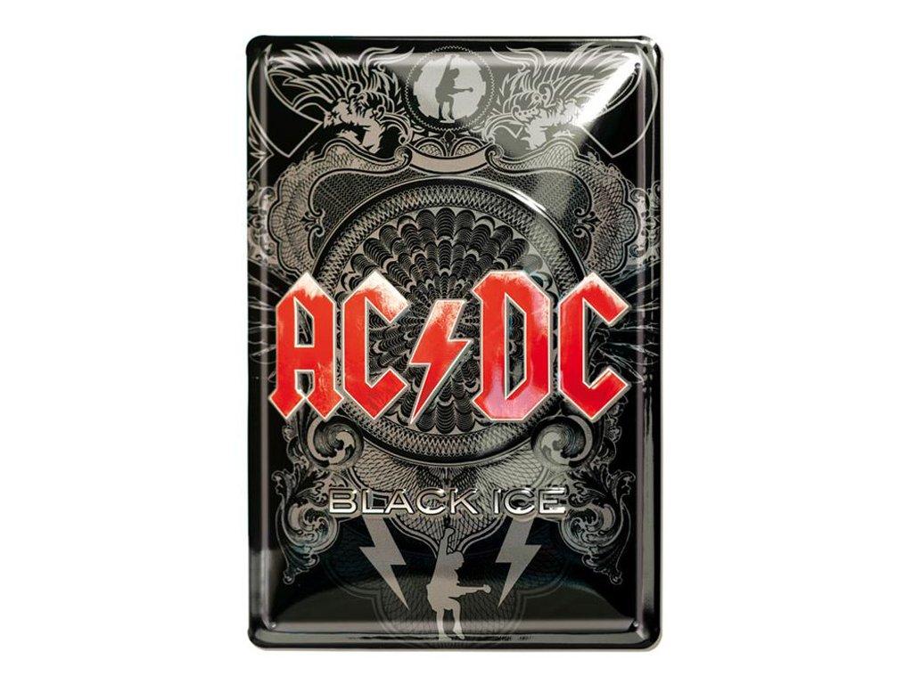 Plechová dekorativní cedule na zeď AC/DC: Black Ice (20 x 30 cm)