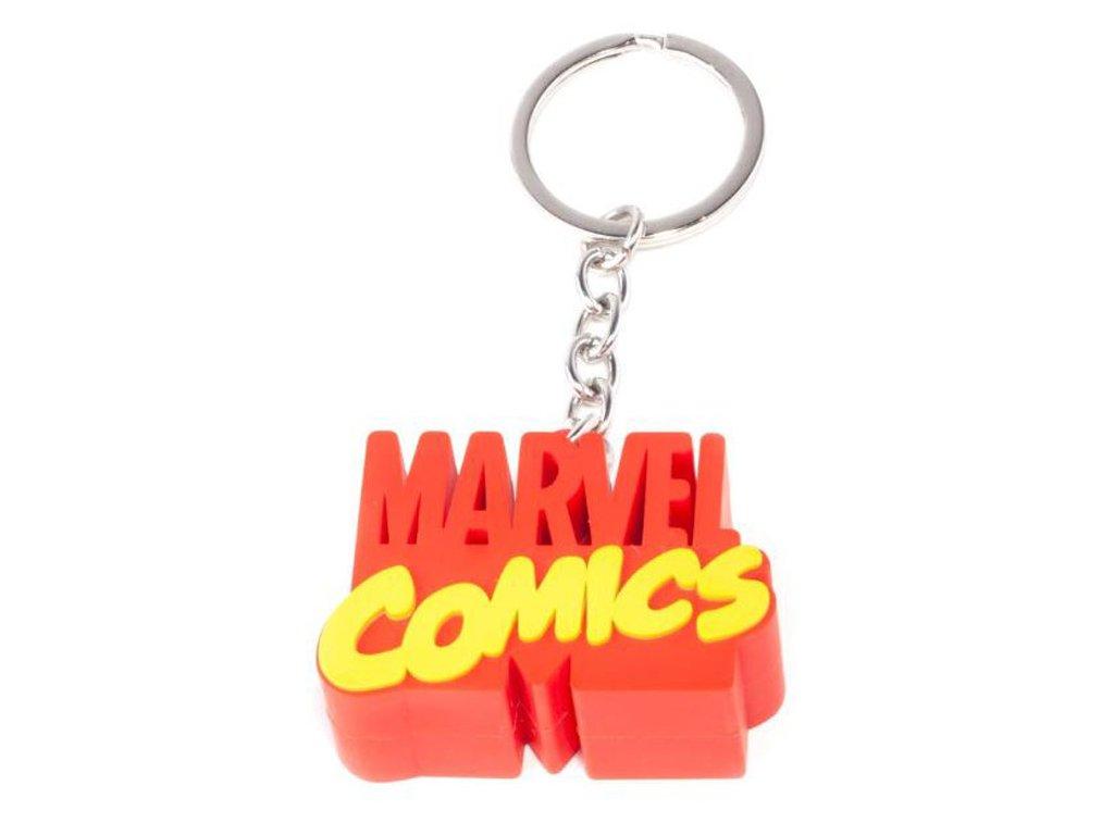 Gumový přívěsek na klíče Marvel: 3D Logo (7 x 3 cm)