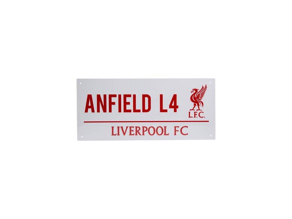 Kovová dekorační cedule na zeď FC Liverpool: Anfield L4 (40 x 18 cm)