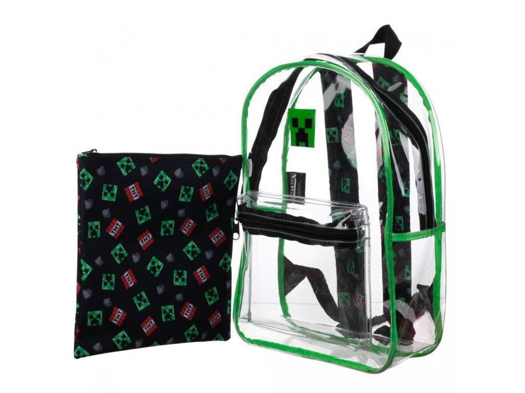 Průhledný batoh Minecraft: Creeper s vakem (objem 16 litrů|30 x 40 x 13 cm) pvc polyester