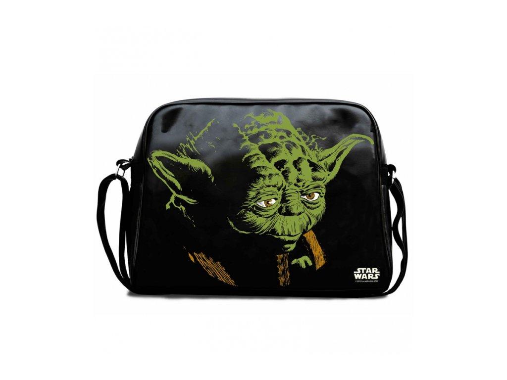 Retro taška na rameno Star Wars|Hvězdné války: Yoda (37 x 28 x 11 cm) černá polyuretan