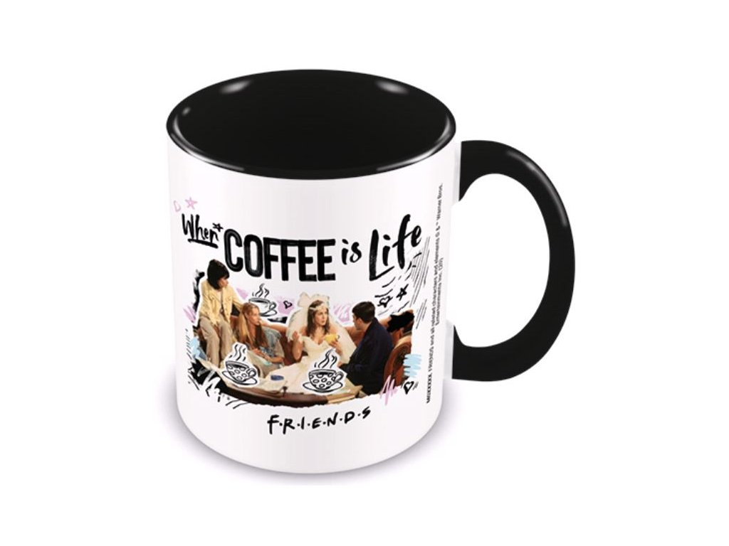 Keramický hrnek Friends|Přátelé: Coffee Is Life (objem 315 ml) černý