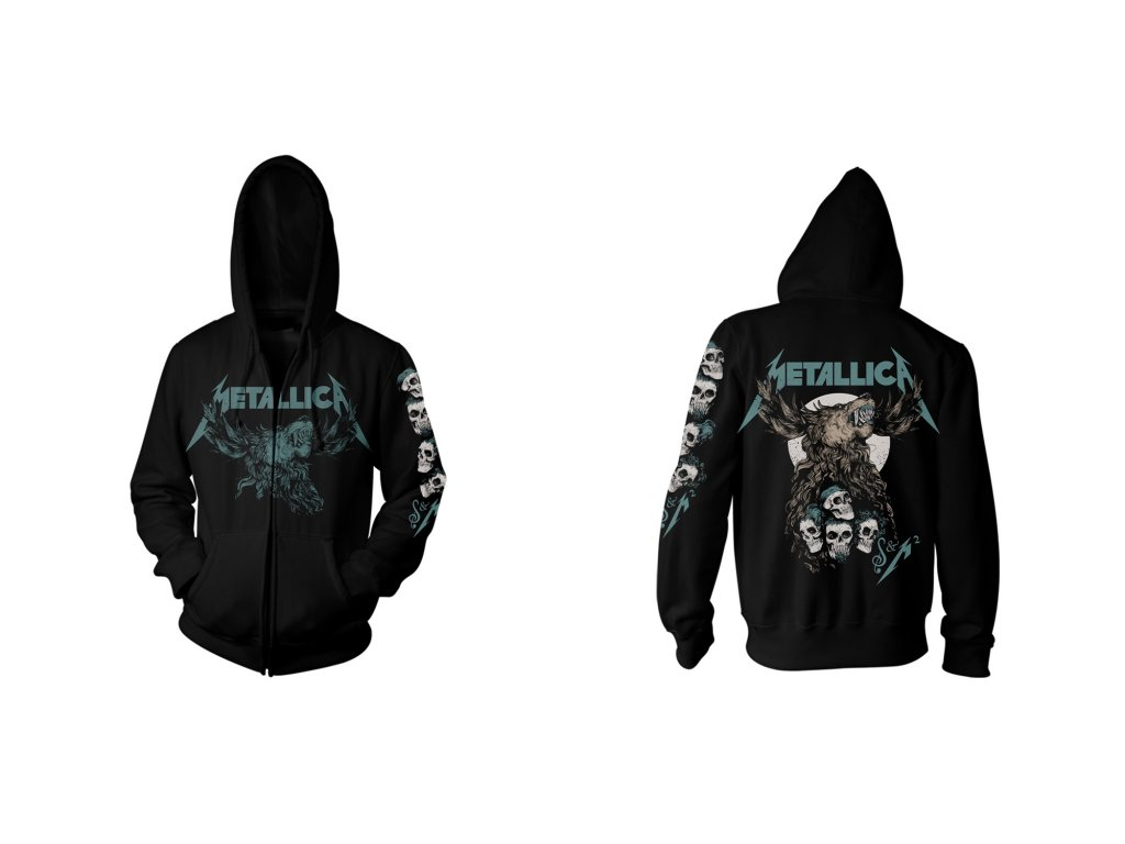 Pánská mikina s kapucí Metallica: Skulls (S) černá bavlna