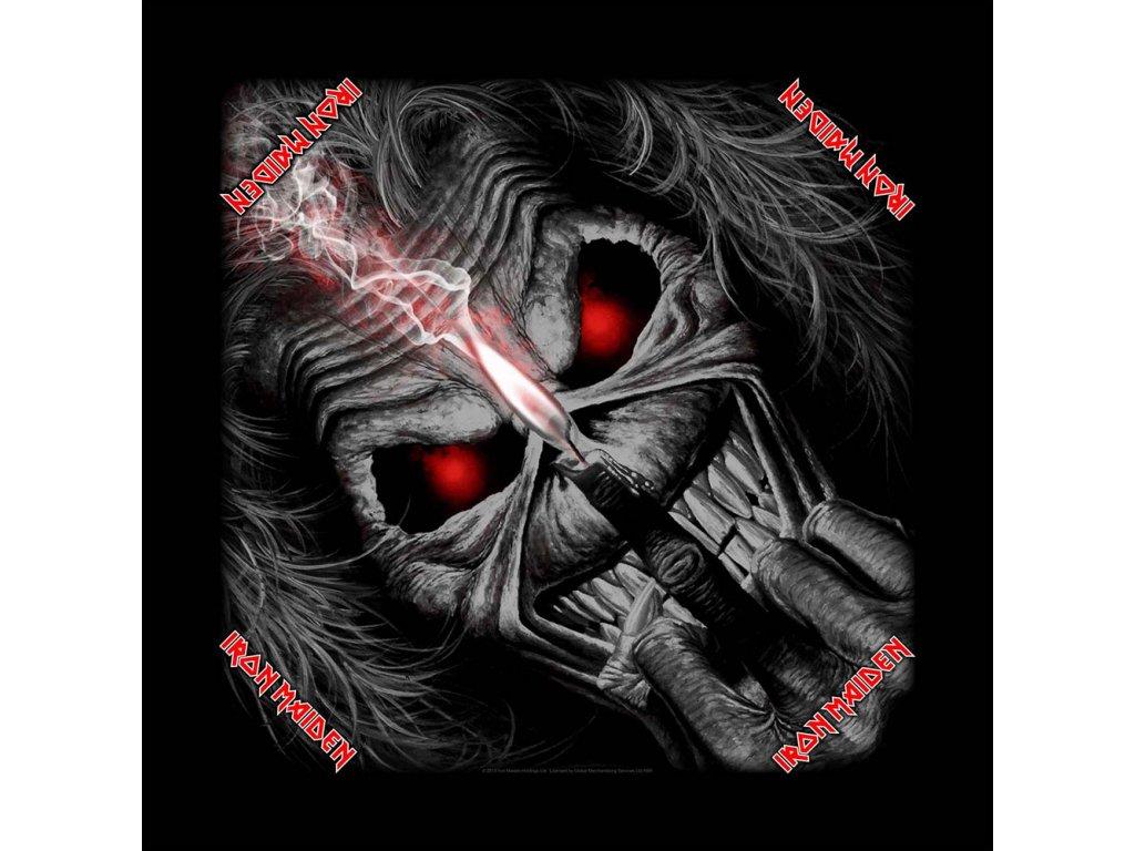 Multifunkční šátek Iron Maiden: Eddie Candle (55 x 55 cm) černá bavlna
