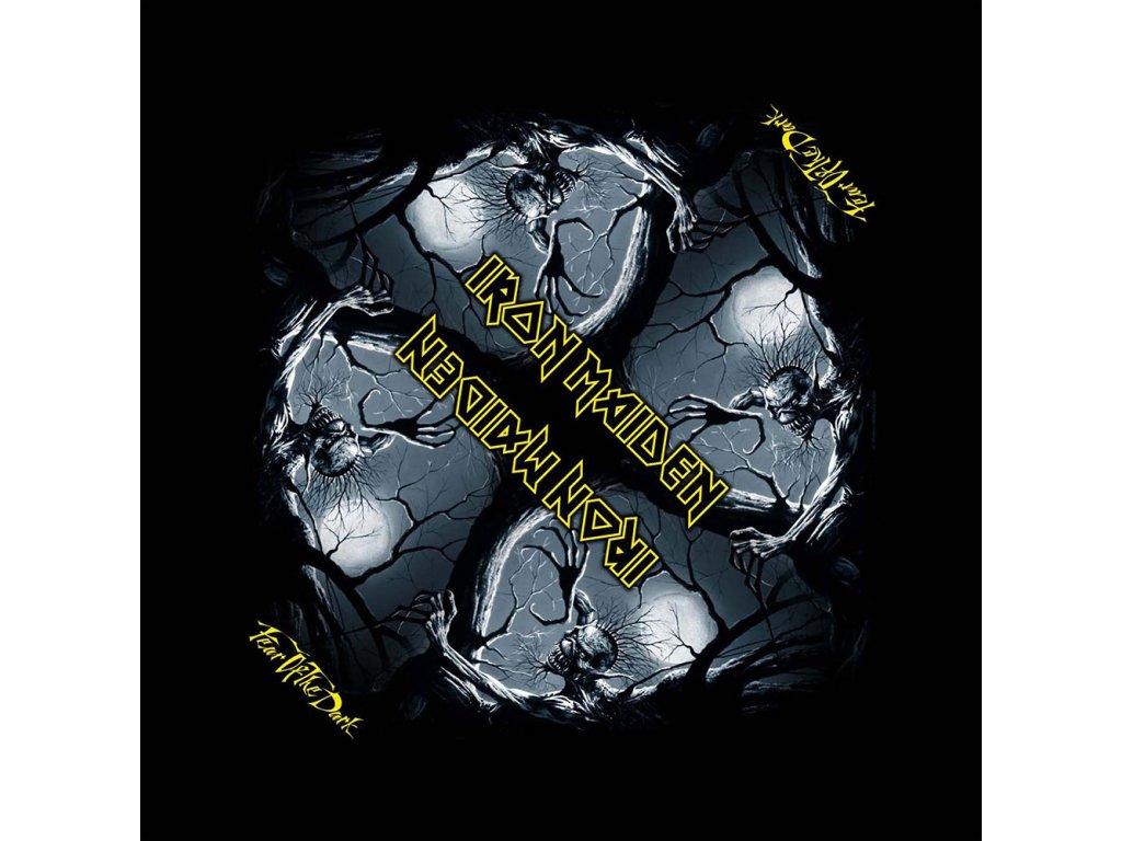 Multifunkční šátek Iron Maiden: Fear Of The Dark (55 x 55 cm) černá bavlna