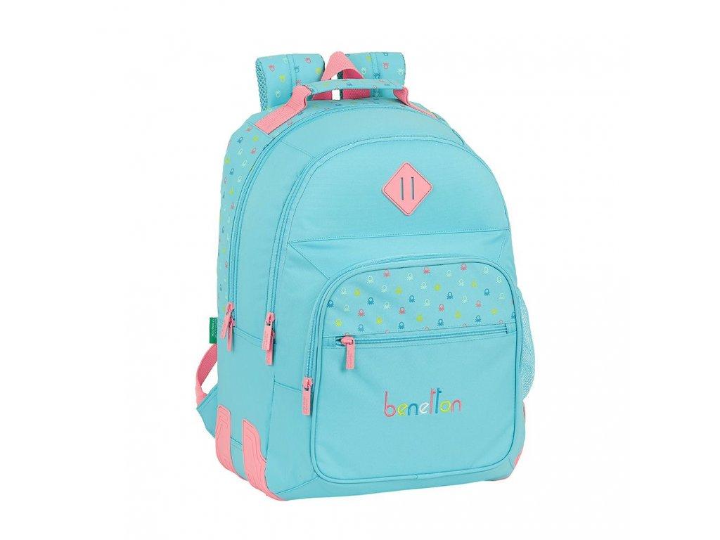 Školní batoh Benetton: Candy vzor 12075 (objem 20 litrů 32 x 42 x 15 cm) modrý polyester