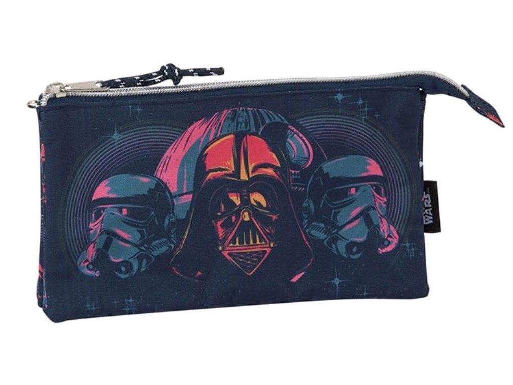 Trojitý penál na tužky Star Wars Hvězdné Války: vzor 12001 (22 x 12 x 3 cm) modrý polyester