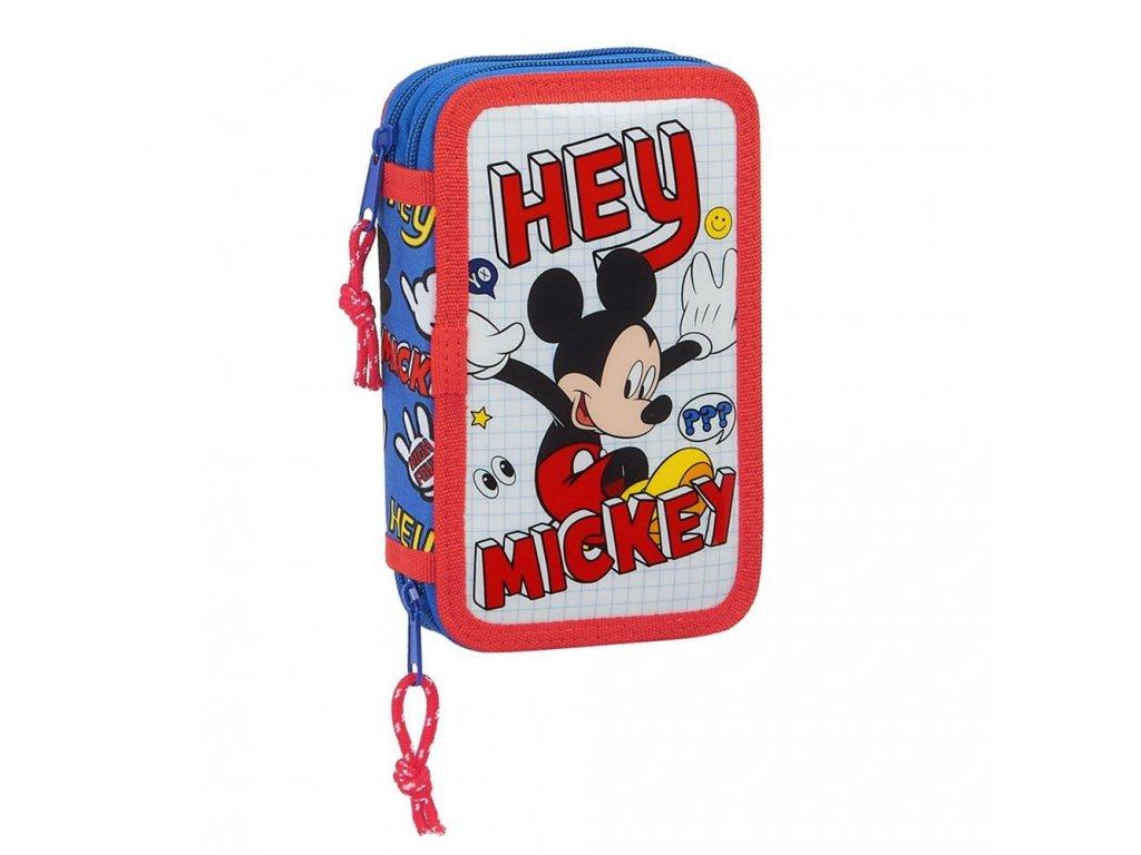 Dvoudílné naplněné školní pouzdro Mickey Mouse: vzor 12014 (19,5 cm x 12,5 cm) polyester