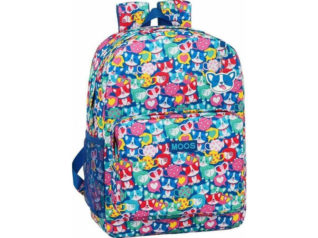 Batoh na laptop Moos Corgi: vzor 12018 (objem 19 litrů, 32 x 43 x 14 cm) multicolor polyester