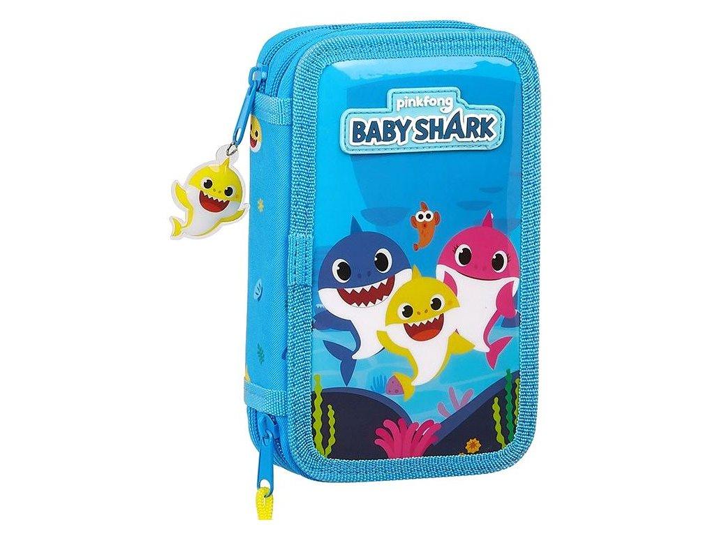 Dvoudílné školní pouzdro Baby Shark: vzor 12060 28 položek (12,5 x 19,5 x 4 cm) modrý polyester