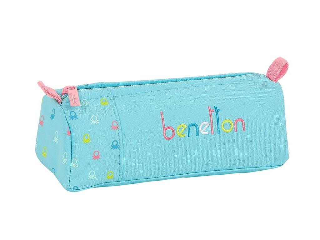 Penál na tužky Benetton: Candy vzor 12075 (21 x 7 x 8 cm) modrý polyester