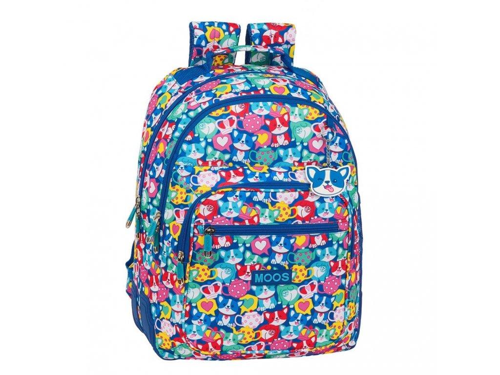 Školní batoh Moos: Corgi vzor 12018 (objem 20 litrů 32 x 42 x 15 cm) multicolor polyester