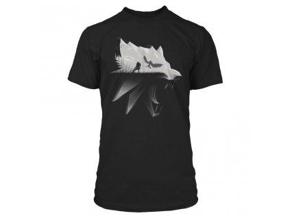 Pánské tričko The Witcher 3|Zaklínač 3: Wolf Silhouette  černé