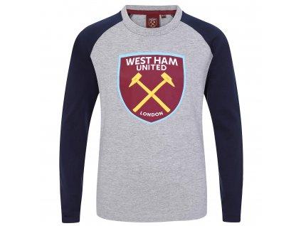Dětské tričko s dlouhým rukávem West Ham grey