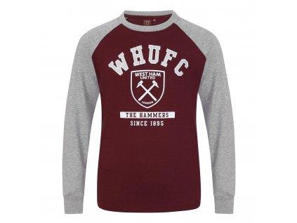 Dětské tričko s dlouhým rukávem West Ham claret