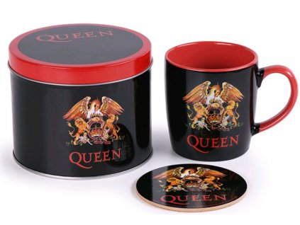 Dárkový set v plechové krabičce Queen: Logo (objem hrnku 370 ml)