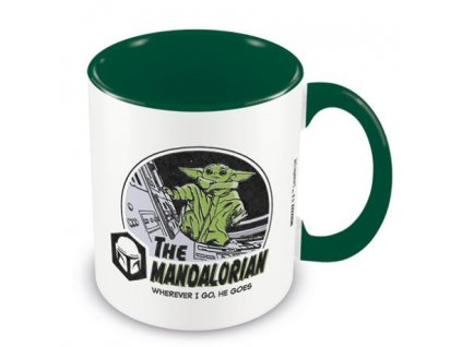 Keramický hrnek Star Wars|Hvězdné války Tv seriál The Mandalorian: Wherever I Go He Goes (objem 315 ml) zelený