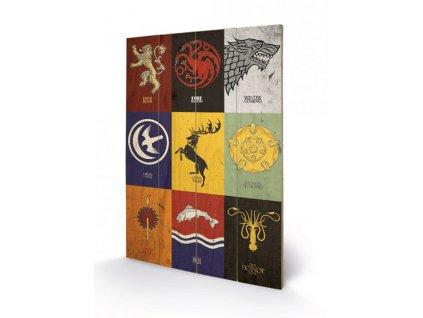 Obraz Game of Thrones: Sigils malba na dřevě (40 cm x 59 cm)