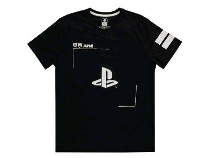 Pánské tričko Playstation: Black & White  černé bavlna