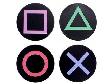 Kovové tácky pod sklenice Playstation: Buttons set 4 kusů (průměr 10 cm)