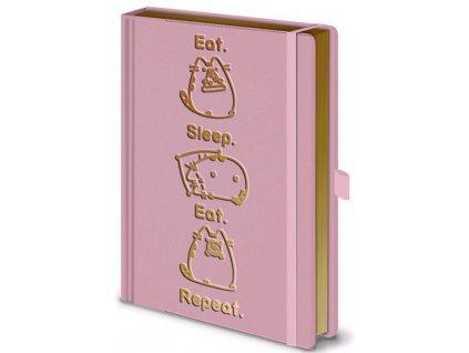 Poznámkový A5 blok Pusheen: Eat.Sleep.Eat.Repeat. (14,8 x 21 cm)