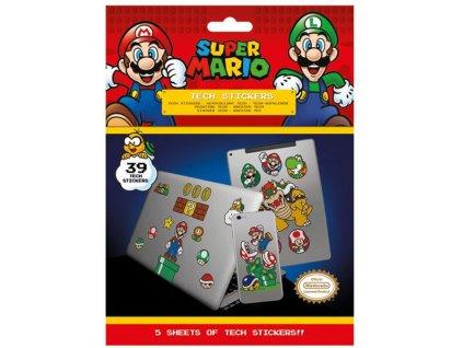 Samolepky na elektroniku Nintendo: Super Mario set 5 listů 39 kusů (18 x 24 cm)