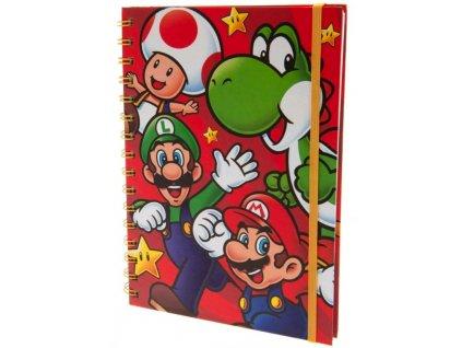 A5 blok-zápisník Nintendo: Super Mario Run (A5 14,8 x 21 cm) kroužková vazba
