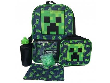 Školní batoh Minecraft: Creeper set batoh - penál - svačinový box - láhev 500 ml (objem 17 litrů|41 x 30 x 14 cm) černý polyester
