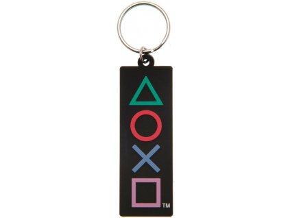 Přívěsek na klíče Playstation: Tvary logo (4,5 x 6 cm) černý