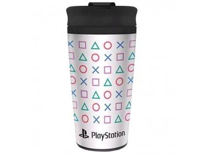 Nerezový cestovní hrnek Playstation: Tvary logo (objem 450 ml)