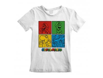Dětské tričko Nintendo|Super Mario: Squares  bílá bavlna
