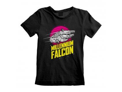 Dětské tričko Star Wars|Hvězdné války: Millenium Falcon  černá bavlna