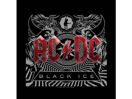 Multifunkční šátek AC/DC: Black Ice (55 x 55 cm) černá bavlna