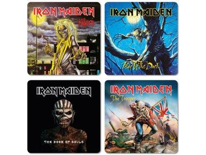Tácky pod sklenice Iron Maiden: Obaly alb balení 4 kusů (10 x 10 cm)