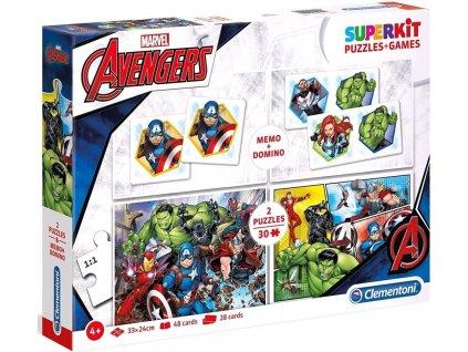Puzzle a hry Marvel: Avengers 2 x 30 dílků + domino a pexeso (33 x 24 cm)